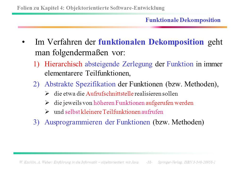 Folien zu Kapitel 4: Objektorientierte Software-Entwicklung W. Küchlin, A. Weber: Einführung in die Informatik – objektorientiert mit Java -58- Spring