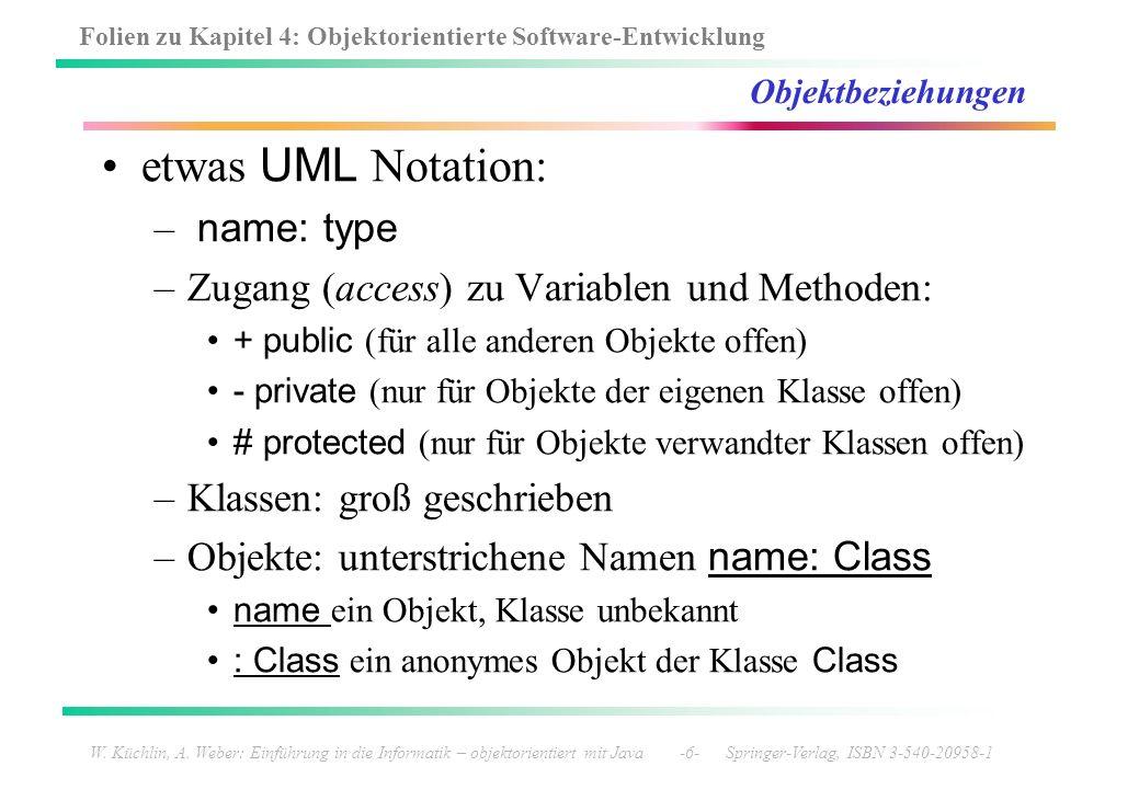 Folien zu Kapitel 4: Objektorientierte Software-Entwicklung W. Küchlin, A. Weber: Einführung in die Informatik – objektorientiert mit Java -6- Springe