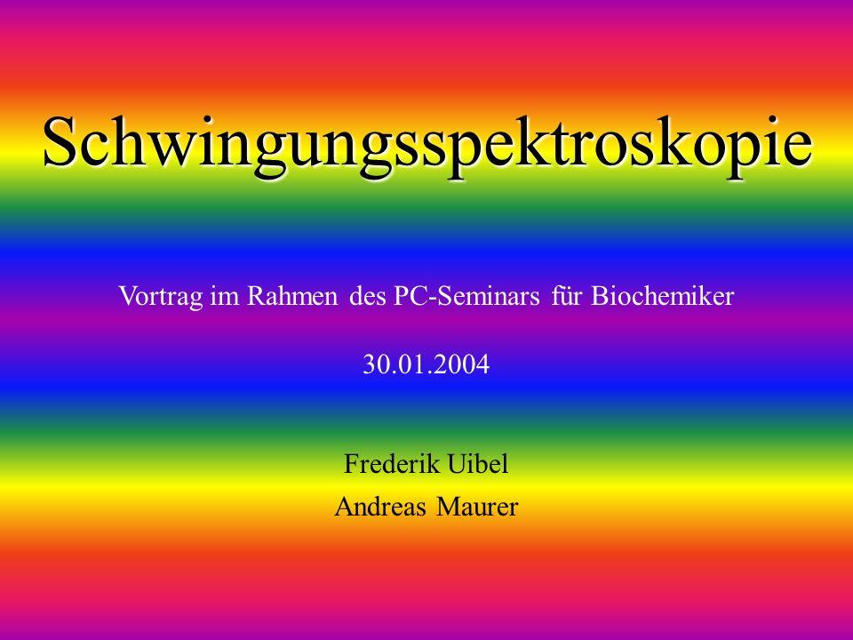 Frederik Uibel Andreas Maurer Vortrag im Rahmen des PC-Seminars für Biochemiker 30.01.2004 Schwingungsspektroskopie