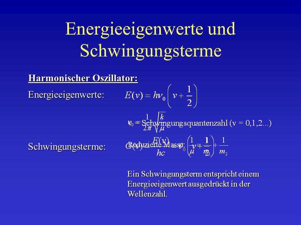 Energieeigenwerte und Schwingungsterme Energieeigenwerte: Schwingungsterme: Harmonischer Oszillator: Ein Schwingungsterm entspricht einem Energieeigen