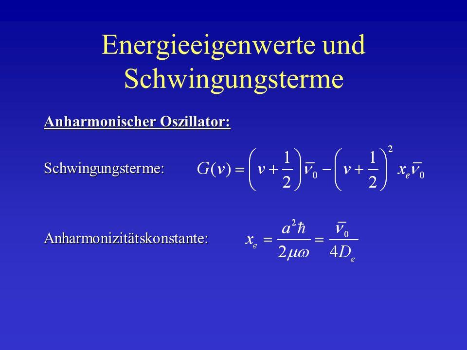 Energieeigenwerte und Schwingungsterme Schwingungsterme: Anharmonischer Oszillator: Anharmonizitätskonstante: