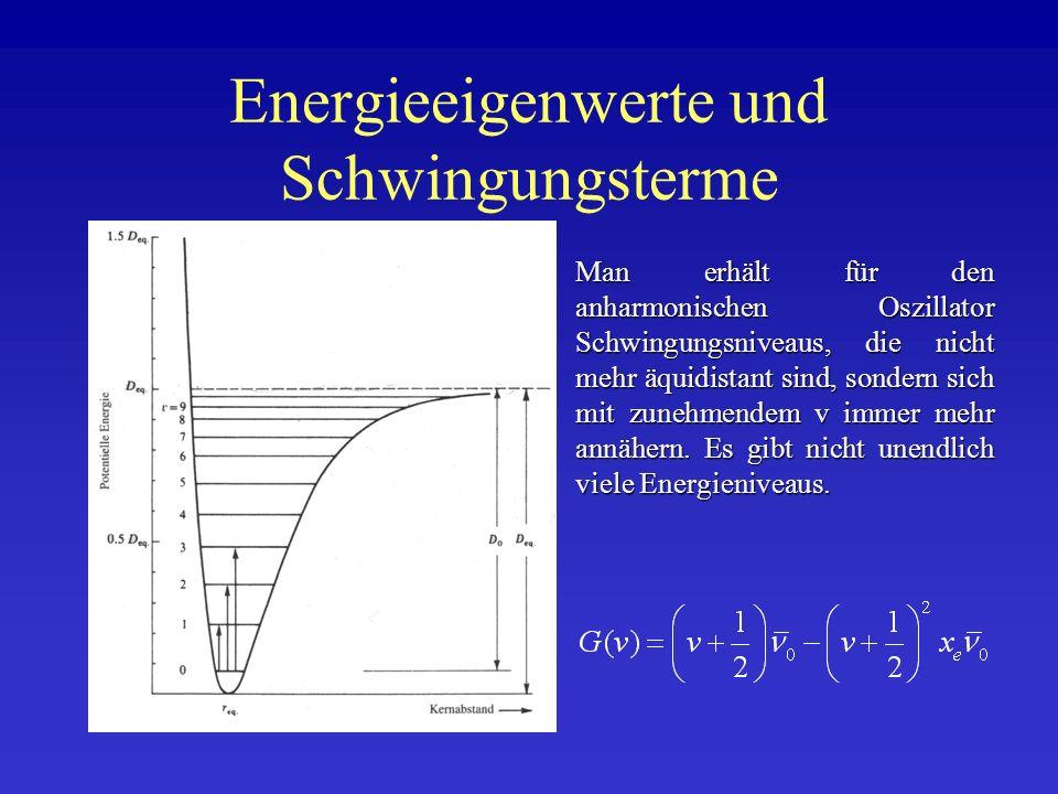 Energieeigenwerte und Schwingungsterme Man erhält für den anharmonischen Oszillator Schwingungsniveaus, die nicht mehr äquidistant sind, sondern sich