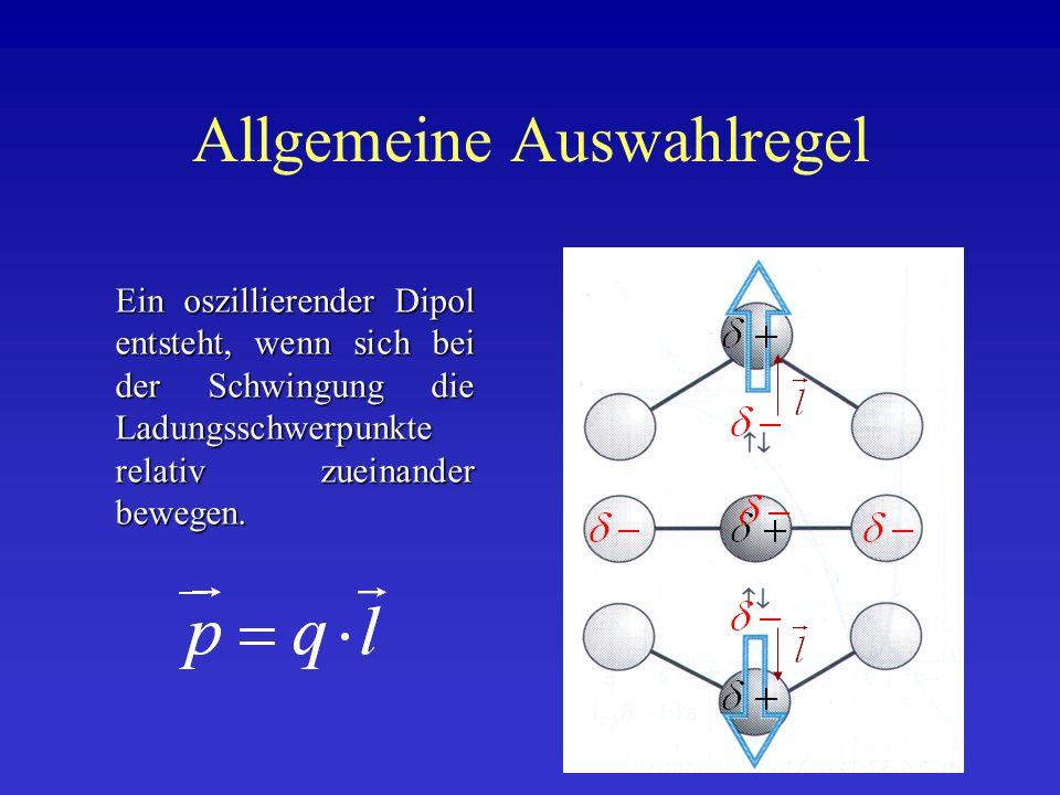 Allgemeine Auswahlregel Ein oszillierender Dipol entsteht, wenn sich bei der Schwingung die Ladungsschwerpunkte relativ zueinander bewegen.