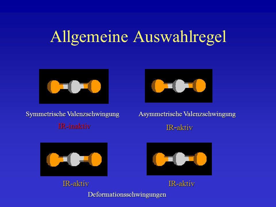 Allgemeine Auswahlregel Symmetrische Valenzschwingung Asymmetrische Valenzschwingung Deformationsschwingungen IR-inaktiv IR - aktiv IR-aktivIR-aktiv
