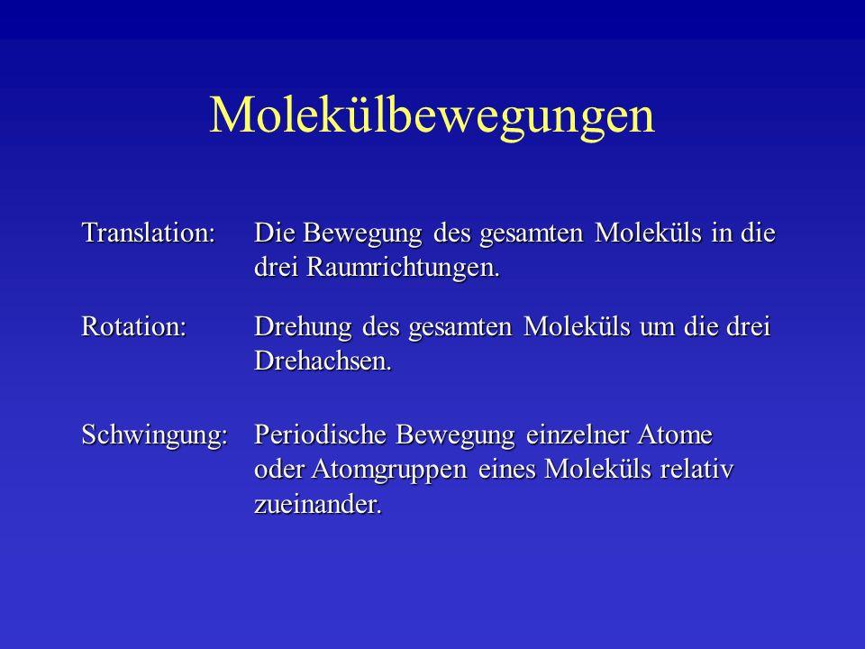 Molekülschwingungen Moleküle schwingen, da die Atome nicht starr sondern elastisch, vergleichbar mit Federn in der Mechanik, miteinander verbunden sind.