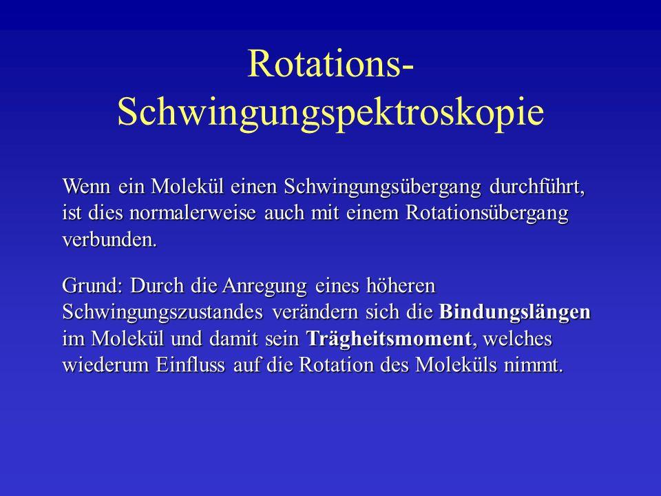 Rotations- Schwingungspektroskopie Wenn ein Molekül einen Schwingungsübergang durchführt, ist dies normalerweise auch mit einem Rotationsübergang verb