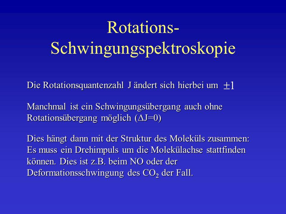 Rotations- Schwingungspektroskopie Die Rotationsquantenzahl J ändert sich hierbei um Manchmal ist ein Schwingungsübergang auch ohne Rotationsübergang