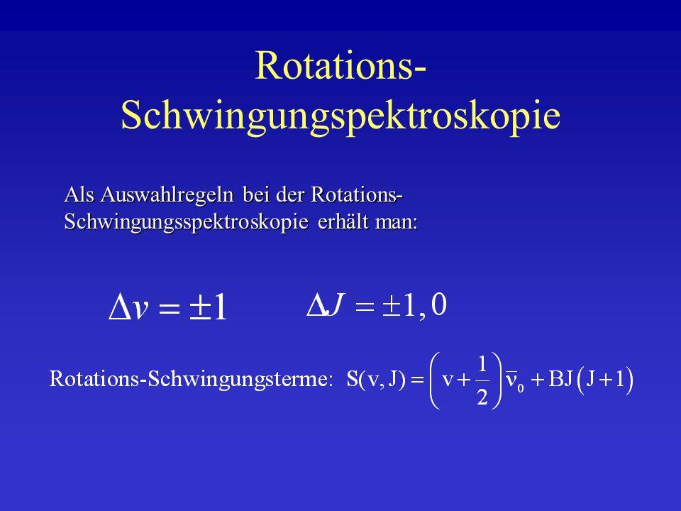 Rotations- Schwingungspektroskopie Als Auswahlregeln bei der Rotations- Schwingungsspektroskopie erhält man: