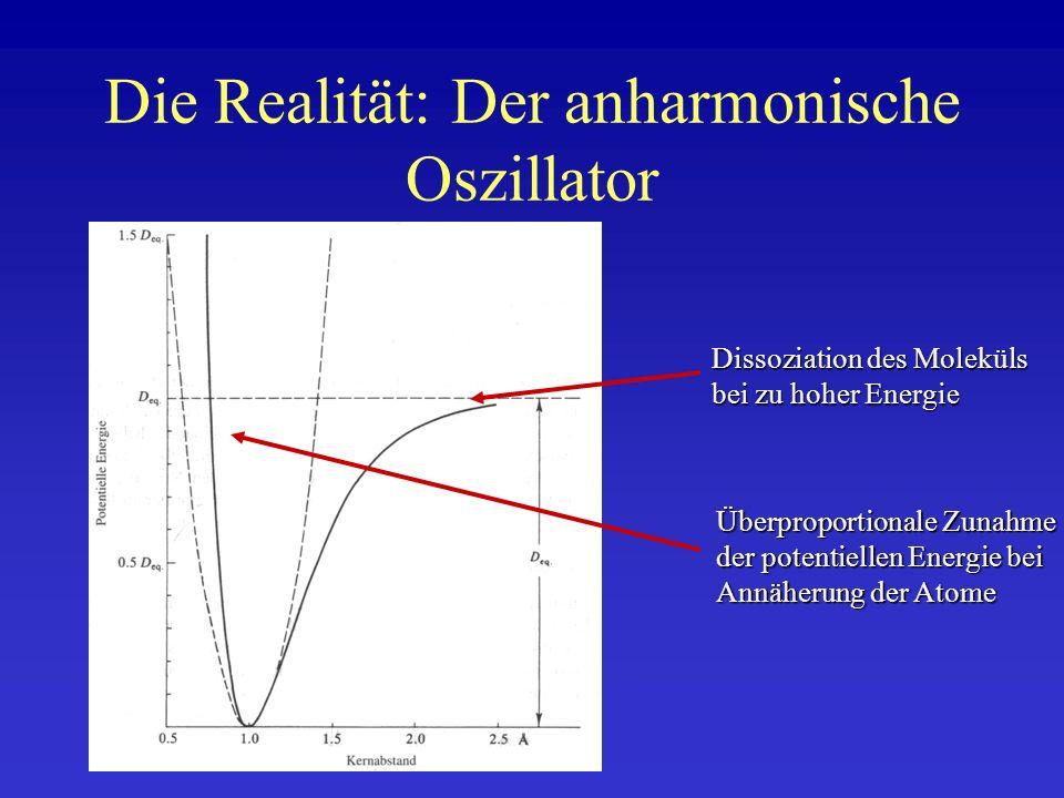 Die Realität: Der anharmonische Oszillator Dissoziation des Moleküls bei zu hoher Energie Überproportionale Zunahme der potentiellen Energie bei Annäh