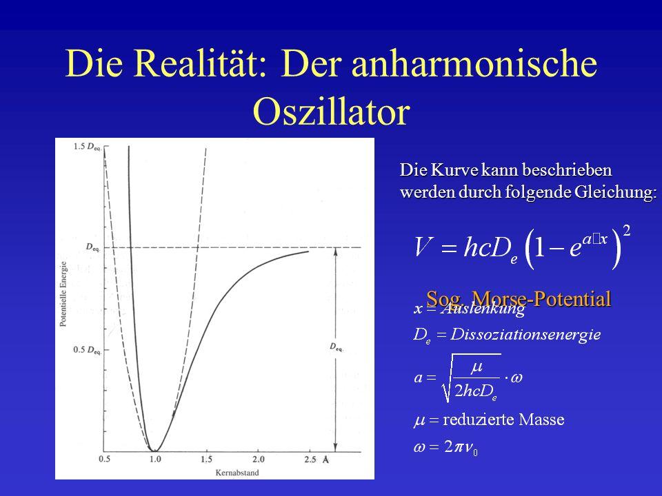 Die Realität: Der anharmonische Oszillator Die Kurve kann beschrieben werden durch folgende Gleichung: Sog. Morse-Potential
