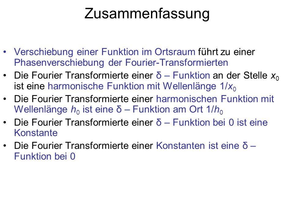 Zusammenfassung Verschiebung einer Funktion im Ortsraum führt zu einer Phasenverschiebung der Fourier-Transformierten Die Fourier Transformierte einer