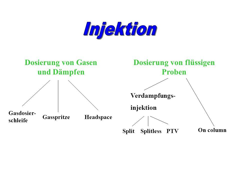 Dosierung von Gasen und Dämpfen Dosierung von flüssigen Proben Gasdosier- schleife GasspritzeHeadspace Verdampfungs- injektion SplitPTV On column Spli