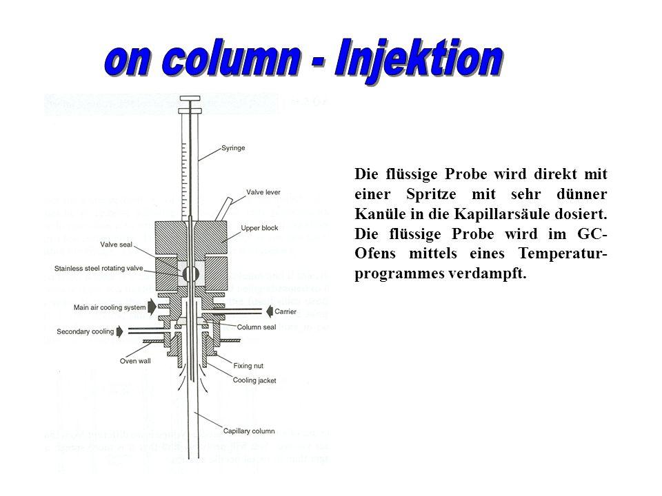 Die flüssige Probe wird direkt mit einer Spritze mit sehr dünner Kanüle in die Kapillarsäule dosiert. Die flüssige Probe wird im GC- Ofens mittels ein