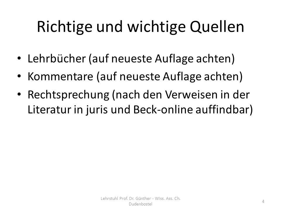 Inhalt der Hausarbeit Keine Nacherzählung Keine Sachverhaltsquetschung Lehrstuhl Prof.