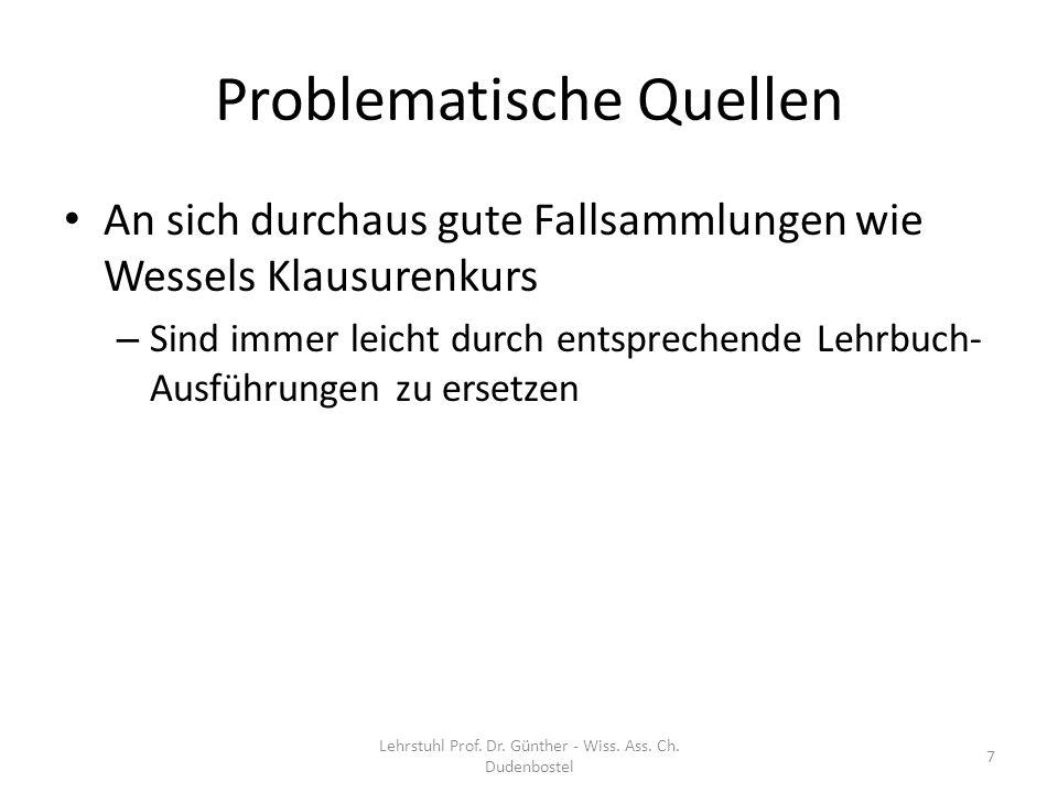 Lehrstuhl Prof. Dr. Günther - Wiss. Ass. Ch. Dudenbostel 68