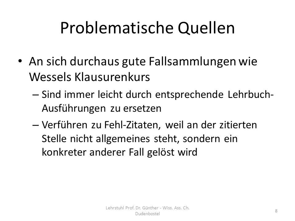 Lehrstuhl Prof. Dr. Günther - Wiss. Ass. Ch. Dudenbostel 69