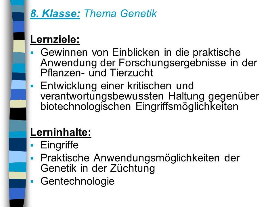 8. Klasse: Thema Genetik Lernziele: Gewinnen von Einblicken in die praktische Anwendung der Forschungsergebnisse in der Pflanzen- und Tierzucht Entwic