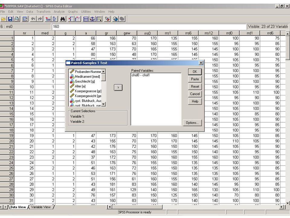 T-Test für abhängige Stichproben SPSS: Analyze Compare Means Paired Samples T-Test