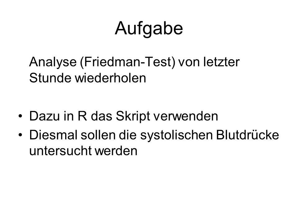 Aufgabe Analyse (Friedman-Test) von letzter Stunde wiederholen Dazu in R das Skript verwenden Diesmal sollen die systolischen Blutdrücke untersucht werden