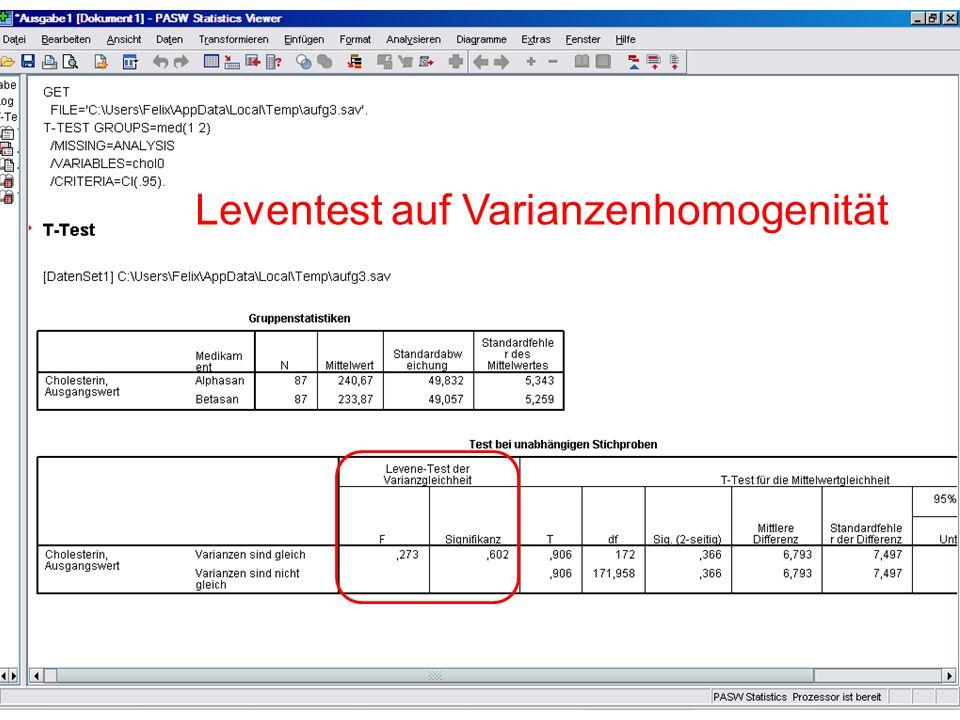 T-Test (unabhängige Stichproben) Leventest auf Varianzenhomogenität