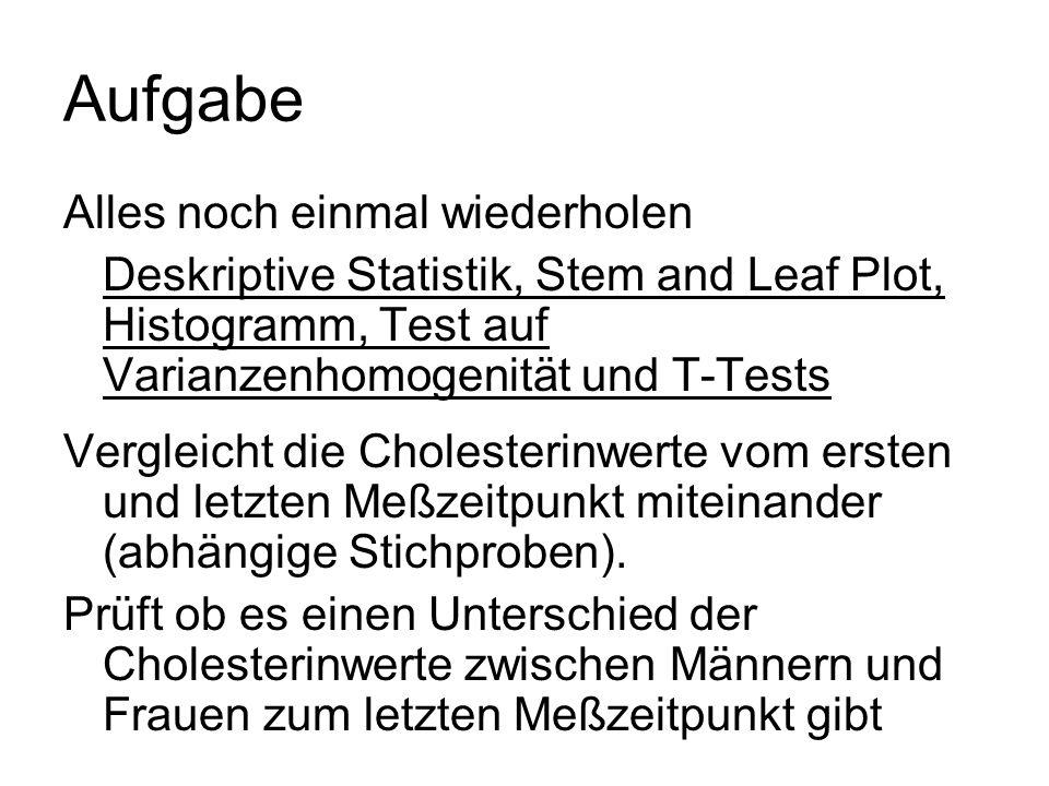 Aufgabe Alles noch einmal wiederholen Deskriptive Statistik, Stem and Leaf Plot, Histogramm, Test auf Varianzenhomogenität und T-Tests Vergleicht die Cholesterinwerte vom ersten und letzten Meßzeitpunkt miteinander (abhängige Stichproben).
