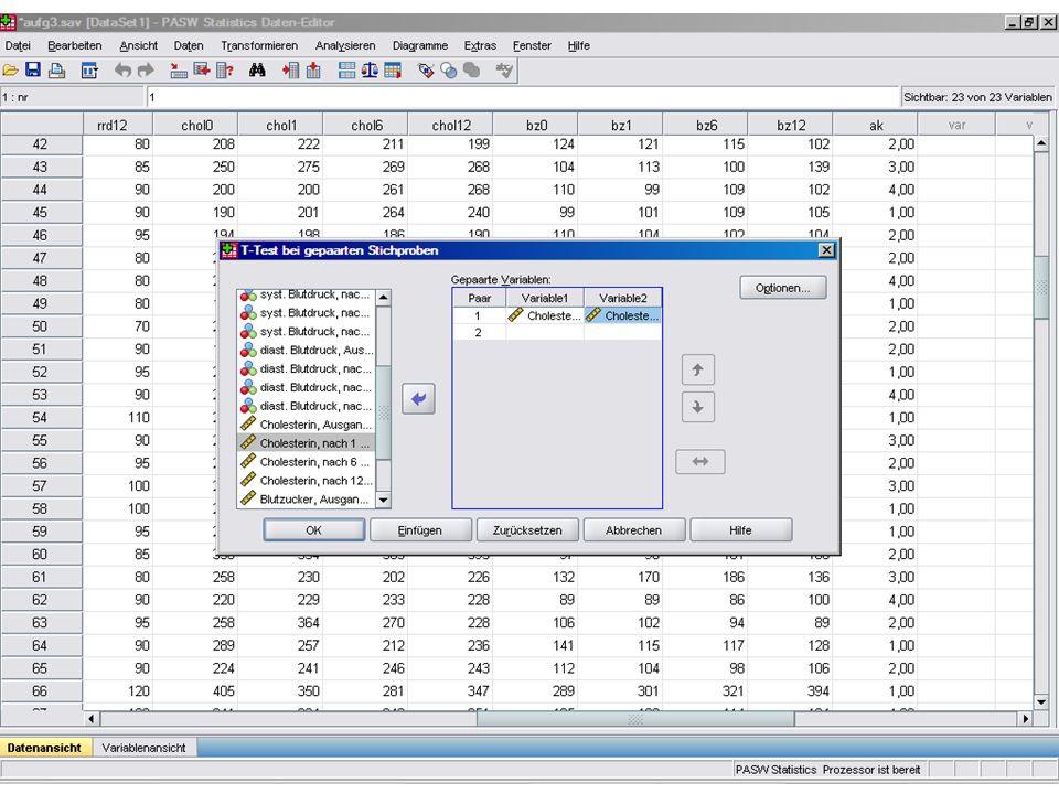 T-Test (abhängige Stichproben) SPSS Analysieren Mittelwerte vergleichen T-Test bei verbundenen Stichproben