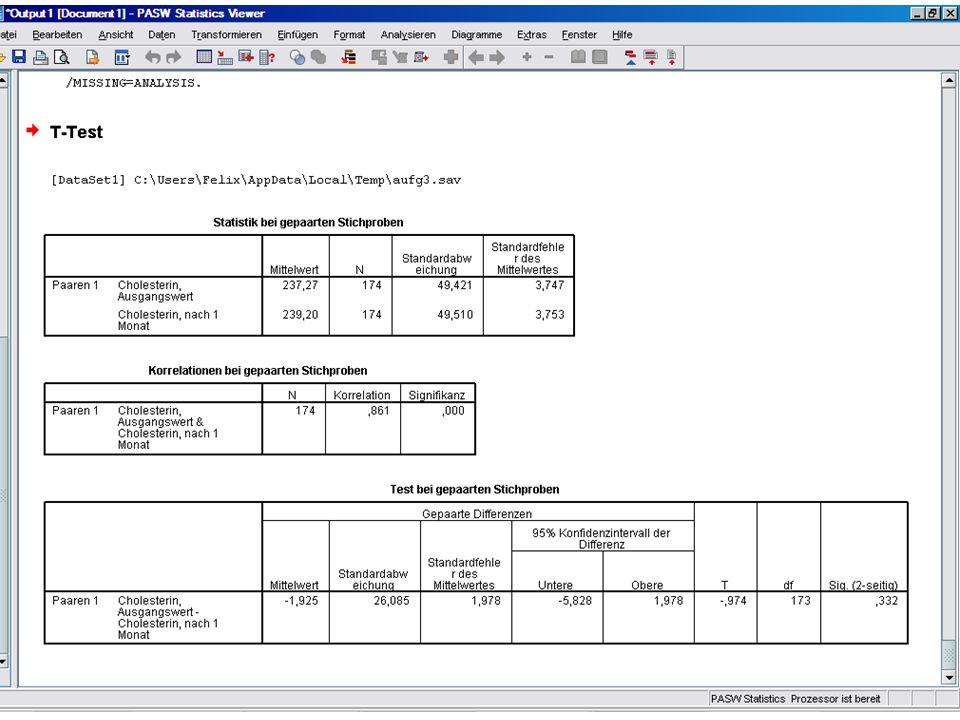 T-Test (unabhängige Stichproben) Erst die nötigten Vortests SPSS Analysieren Deskriptive Statistiken Explorative Datenanalyse