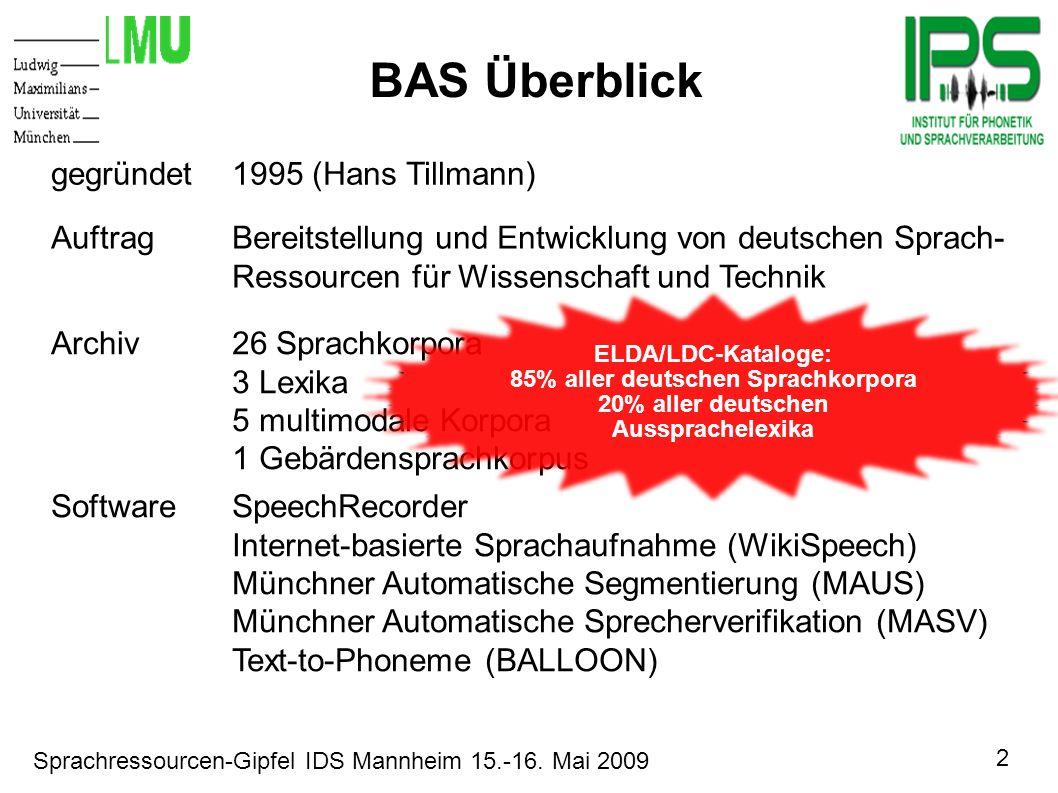 2 Sprachressourcen-Gipfel IDS Mannheim 15.-16. Mai 2009 Motivation BAS Überblick gegründet1995 (Hans Tillmann) AuftragBereitstellung und Entwicklung v