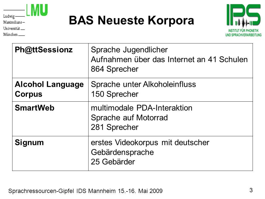 3 Sprachressourcen-Gipfel IDS Mannheim 15.-16. Mai 2009 Motivation BAS Neueste Korpora Ph@ttSessionzSprache Jugendlicher Aufnahmen über das Internet a