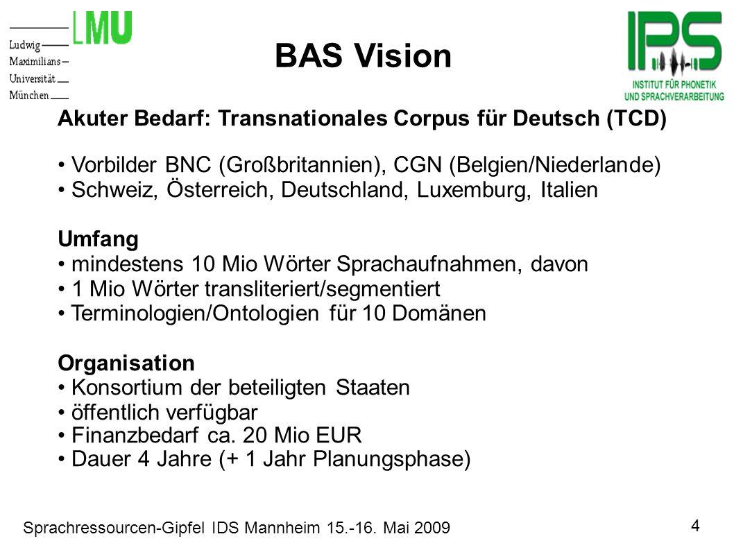 4 Sprachressourcen-Gipfel IDS Mannheim 15.-16. Mai 2009 Motivation BAS Vision Akuter Bedarf: Transnationales Corpus für Deutsch (TCD) Vorbilder BNC (G