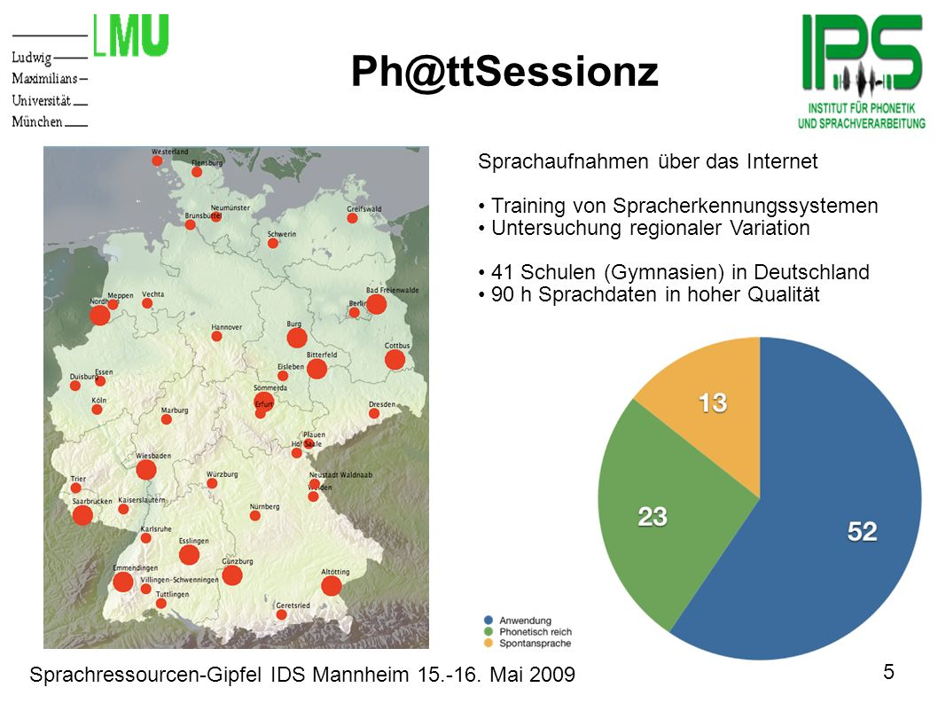 5 Sprachressourcen-Gipfel IDS Mannheim 15.-16. Mai 2009 Motivation Ph@ttSessionz Sprachaufnahmen über das Internet Training von Spracherkennungssystem