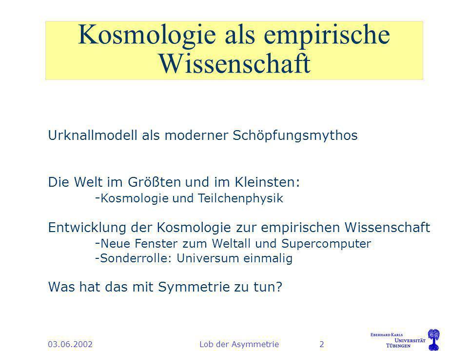 03.06.2002Lob der Asymmetrie3 Inhalt 1.Symmetrie in der Teilchenphysik 2.