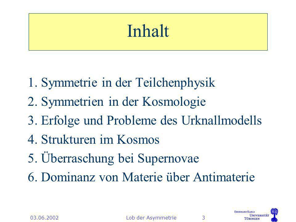 03.06.2002Lob der Asymmetrie24 Ergebnis zur Raumkrümmung Der Raum ist euklidisch (flach) wie vom inflationären Modell vorhergesagt.