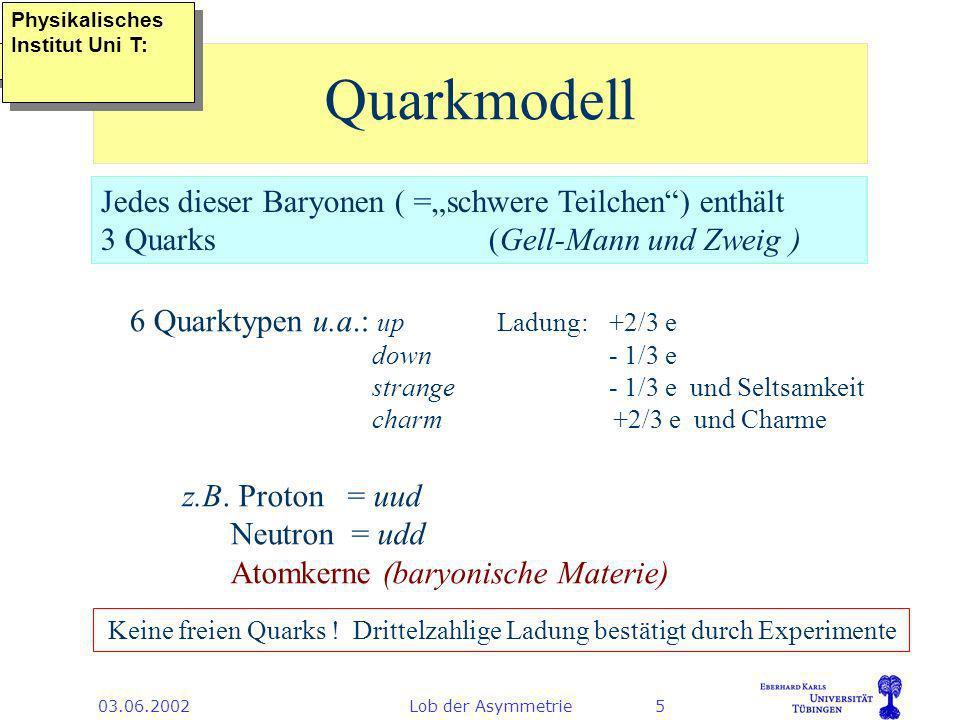 03.06.2002Lob der Asymmetrie5 Quarkmodell Jedes dieser Baryonen ( =schwere Teilchen) enthält 3 Quarks (Gell-Mann und Zweig ) z.B.