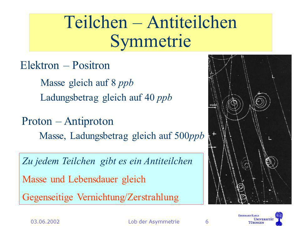 03.06.2002Lob der Asymmetrie6 Teilchen – Antiteilchen Symmetrie Elektron – Positron Masse gleich auf 8 ppb Ladungsbetrag gleich auf 40 ppb Proton – Antiproton Masse, Ladungsbetrag gleich auf 500ppb Zu jedem Teilchen gibt es ein Antiteilchen Masse und Lebensdauer gleich Gegenseitige Vernichtung/Zerstrahlung