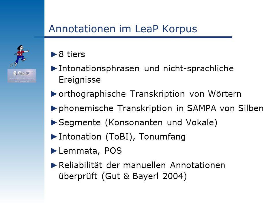 Annotationen im LeaP Korpus 8 tiers Intonationsphrasen und nicht-sprachliche Ereignisse orthographische Transkription von Wörtern phonemische Transkri