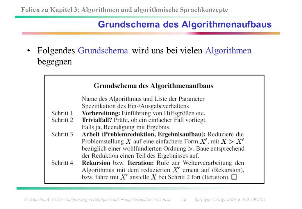 Folien zu Kapitel 3: Algorithmen und algorithmische Sprachkonzepte W. Küchlin, A. Weber: Einführung in die Informatik – objektorientiert mit Java -18-