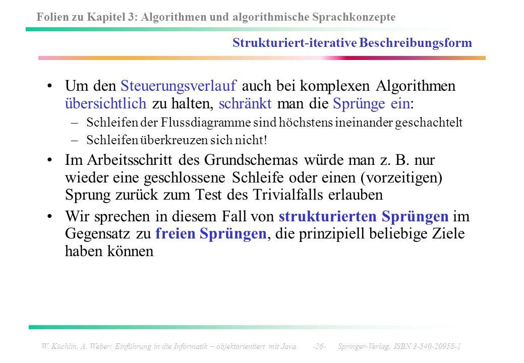 Folien zu Kapitel 3: Algorithmen und algorithmische Sprachkonzepte W. Küchlin, A. Weber: Einführung in die Informatik – objektorientiert mit Java -26-