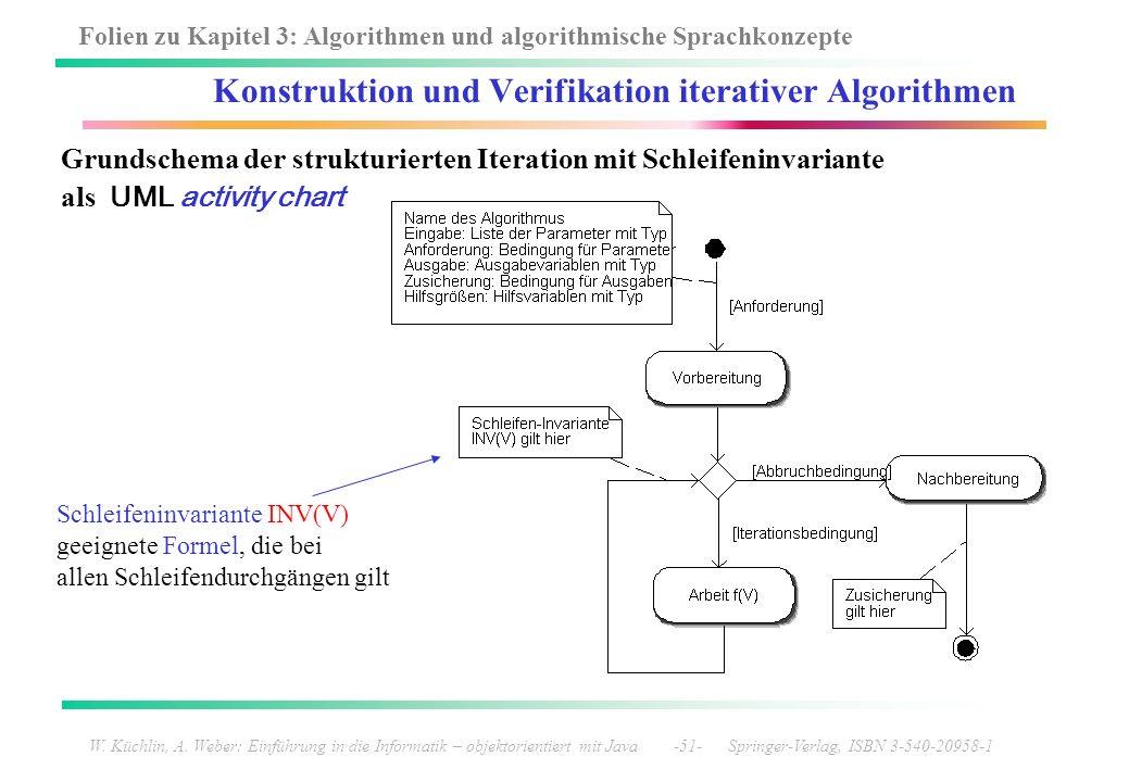 Folien zu Kapitel 3: Algorithmen und algorithmische Sprachkonzepte W. Küchlin, A. Weber: Einführung in die Informatik – objektorientiert mit Java -51-