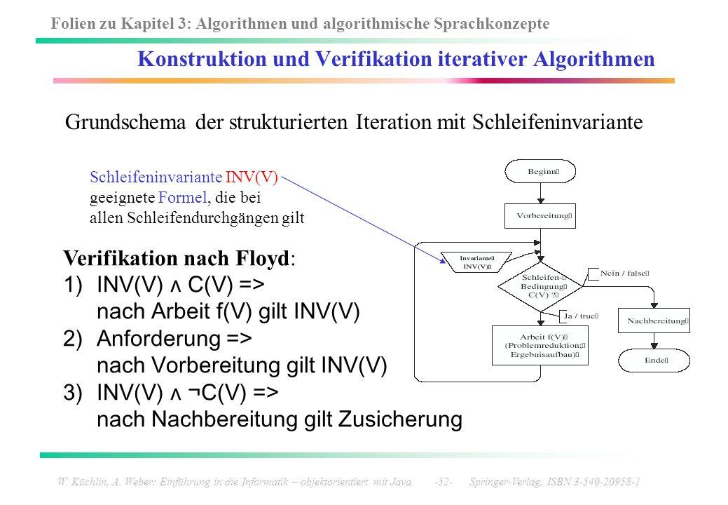Folien zu Kapitel 3: Algorithmen und algorithmische Sprachkonzepte W. Küchlin, A. Weber: Einführung in die Informatik – objektorientiert mit Java -52-