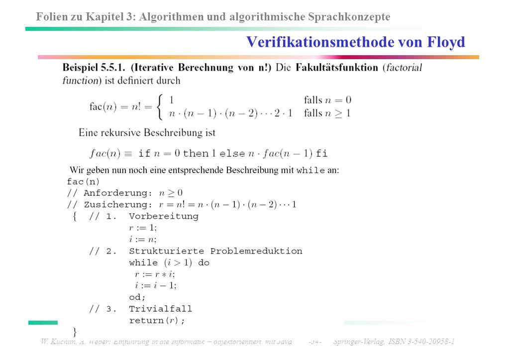 Folien zu Kapitel 3: Algorithmen und algorithmische Sprachkonzepte W. Küchlin, A. Weber: Einführung in die Informatik – objektorientiert mit Java -54-