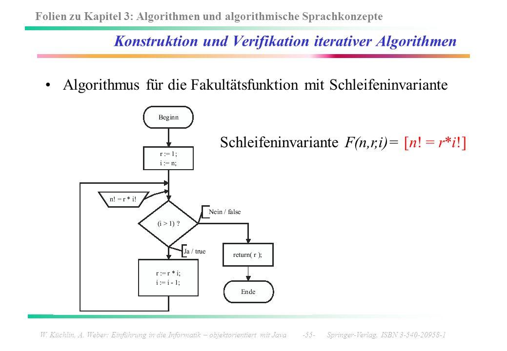 Folien zu Kapitel 3: Algorithmen und algorithmische Sprachkonzepte W. Küchlin, A. Weber: Einführung in die Informatik – objektorientiert mit Java -55-
