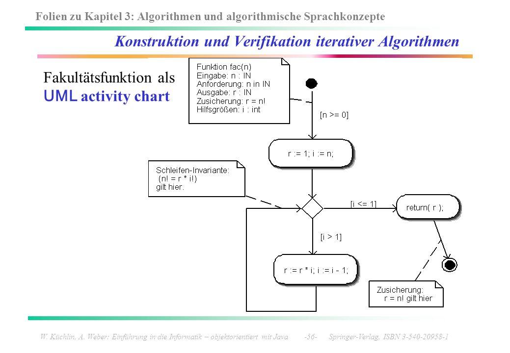 Folien zu Kapitel 3: Algorithmen und algorithmische Sprachkonzepte W. Küchlin, A. Weber: Einführung in die Informatik – objektorientiert mit Java -56-