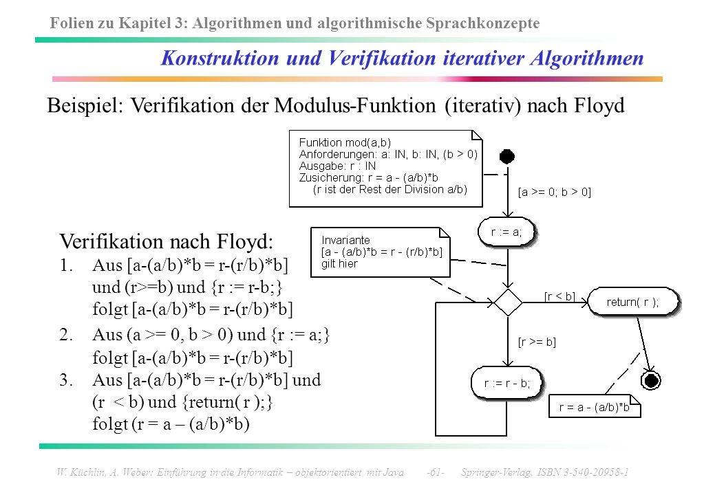 Folien zu Kapitel 3: Algorithmen und algorithmische Sprachkonzepte W. Küchlin, A. Weber: Einführung in die Informatik – objektorientiert mit Java -61-