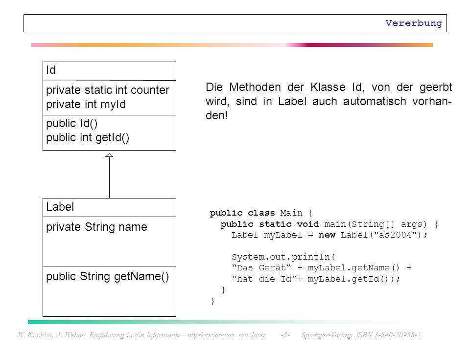 W. Küchlin, A. Weber: Einführung in die Informatik – objektorientiert mit Java -3- Springer-Verlag, ISBN 3-540-20958-1 Vererbung Id private static int