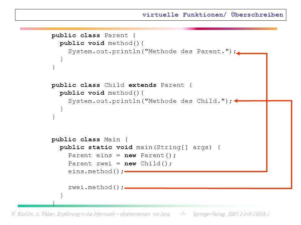 W. Küchlin, A. Weber: Einführung in die Informatik – objektorientiert mit Java -7- Springer-Verlag, ISBN 3-540-20958-1 virtuelle Funktionen/ Überschre