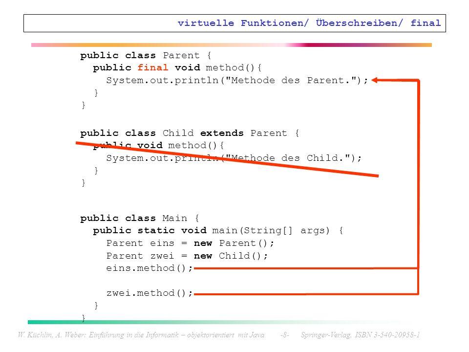 W. Küchlin, A. Weber: Einführung in die Informatik – objektorientiert mit Java -8- Springer-Verlag, ISBN 3-540-20958-1 virtuelle Funktionen/ Überschre