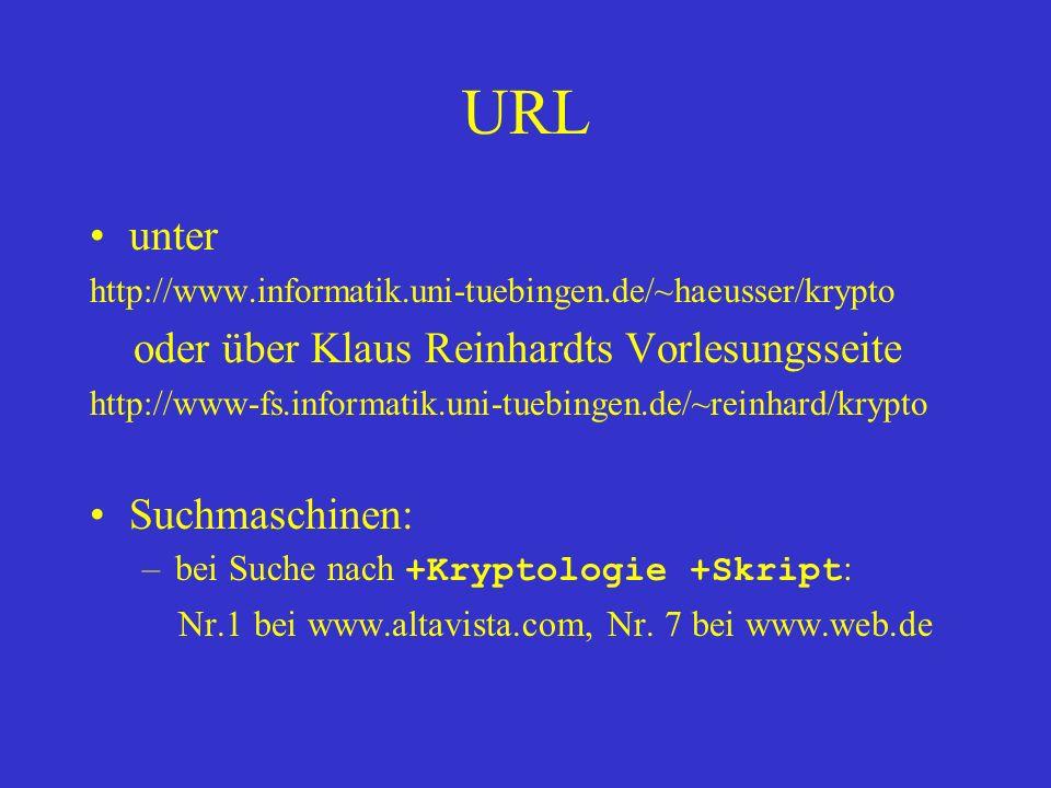 URL unter http://www.informatik.uni-tuebingen.de/~haeusser/krypto oder über Klaus Reinhardts Vorlesungsseite http://www-fs.informatik.uni-tuebingen.de