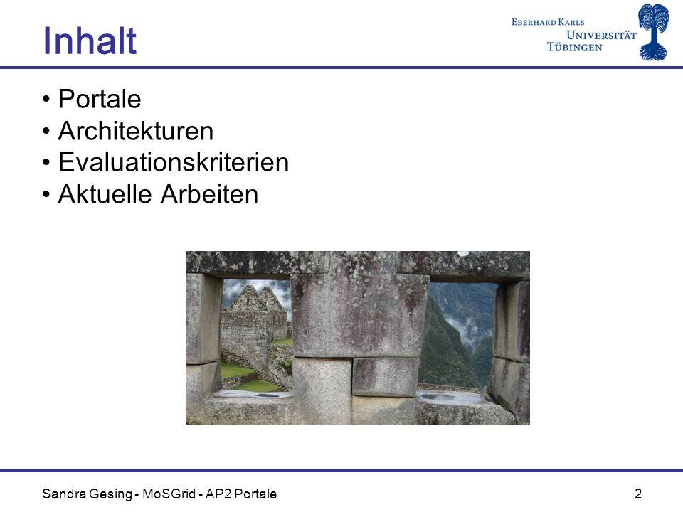 Sandra Gesing - MoSGrid - AP2 Portale 2 Inhalt Portale Architekturen Evaluationskriterien Aktuelle Arbeiten