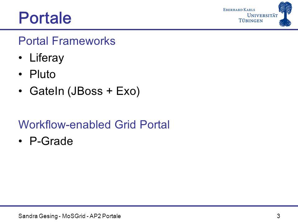 Sandra Gesing - MoSGrid - AP2 Portale 3 Portale Portal Frameworks Liferay Pluto GateIn (JBoss + Exo) Workflow-enabled Grid Portal P-Grade